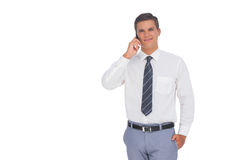 Happy businessman on the phone. On white background Royalty Free Stock Images