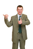 Happy businessman pointed Royalty Free Stock Photography