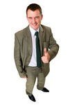 Happy businessman pointed his  thumb up. Isolated on white Royalty Free Stock Photos