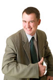 Happy businessman pointed  up. Happy businessman pointed his  thumb up isolated on white Stock Photo