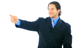 Happy Businessman Pointing Stock Photo