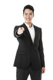Happy businessman pointing Stock Images