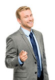 Happy businessman pointing on white background Stock Photo