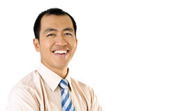 Happy businessman portrait. With smile expression on white background Royalty Free Stock Images