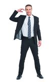Happy businessman posing and gesturing Royalty Free Stock Photo