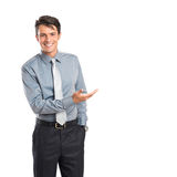 Happy Businessman Presenting Stock Photo