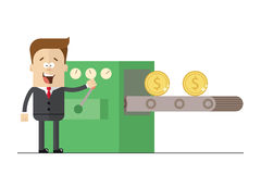 Happy businessman prints wads of money on the conveyor .  illustration white background . Flat picture Stock Photography