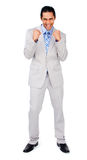 Happy businessman punching the air in celebration Royalty Free Stock Photos
