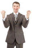 Happy businessman raised his hands up Royalty Free Stock Photos