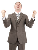 Happy businessman raised his hands up Stock Photos