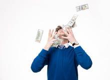 Happy businessman raising hands up stock images
