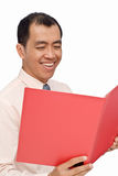 Happy businessman read report Stock Photos