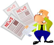 Happy businessman reads the news Royalty Free Stock Image