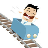 Happy businessman in a roller coaster Royalty Free Stock Image