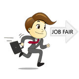 Happy businessman running with briefcase to job fair Stock Images