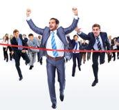 Happy businessman running royalty free stock photos