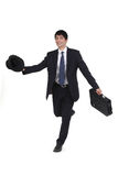 Happy businessman running Royalty Free Stock Image