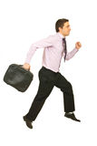 Happy businessman running to work Royalty Free Stock Photography