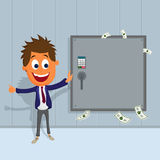 Happy Businessman with safe. Royalty Free Stock Photography