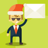 Happy businessman in Santa Claus hat. Good credit Stock Photo