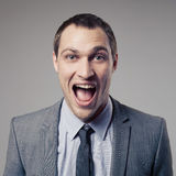 Happy Businessman Screaming Royalty Free Stock Photo