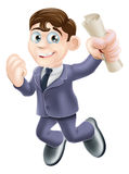Happy businessman and scroll