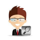Happy businessman searching network media icon Royalty Free Stock Photos