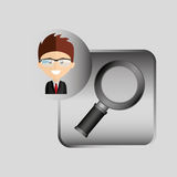 Happy businessman searching network media icon Stock Images