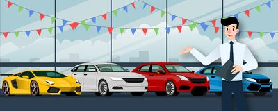 Happy businessman, seller stand and holding a clipboard in front of group luxury car that parking in large showroom in the city. royalty free illustration