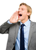 Happy businessman shouting isolated on white background Stock Photo
