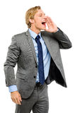 Happy businessman shouting isolated on white background Royalty Free Stock Image
