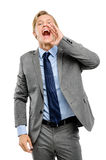 Happy businessman shouting isolated on white background Stock Image