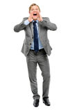 Happy businessman shouting isolated on white background Stock Photography