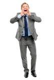 Happy businessman shouting isolated on white background Stock Photography