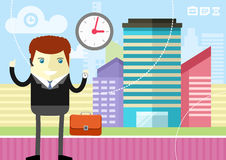 Happy businessman showing clock Stock Photo