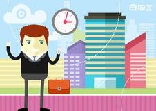 Happy businessman showing clock Stock Photo