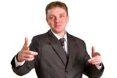 Happy businessman. Showing his thumbs up with smile over white background Royalty Free Stock Photography