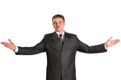Happy businessman. Showing his thumbs up with smile over white background Stock Images