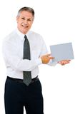 Happy businessman showing placard Stock Image