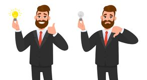 Happy businessman showing thumbs up and holding bright bulb. Unhappy business man showing thumbs down. stock illustration