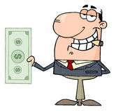 Happy businessman shows big dollar Royalty Free Stock Images