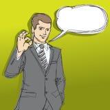 Happy businessman shows OK sketch Royalty Free Stock Photos