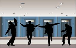 Happy businessman silhouette in corridor vector Royalty Free Stock Images