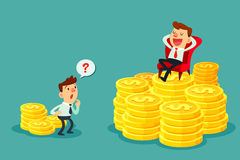 Happy businessman sit on stack of gold coins-investment concept. Happy businessman sit on several stacks of gold coins and another businessman only has a few Stock Photo