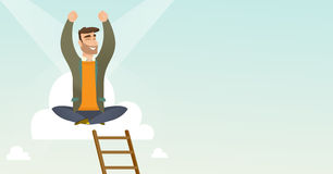 Happy businessman sitting on the cloud. Royalty Free Stock Images