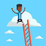 Happy businessman sitting on the cloud. Stock Images
