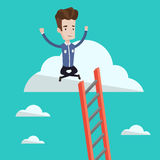 Happy businessman sitting on the cloud. Stock Photo