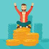 Happy businessman sitting on coins. Royalty Free Stock Photography