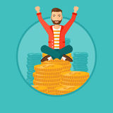 Happy businessman sitting on coins. Royalty Free Stock Photo
