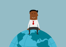 Happy businessman sitting on the earth globe. Cartoon happy smiling successful african american businessman sitting on the earth globe, for international Royalty Free Stock Photo